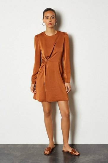 Tan Ruche Side Long Sleeve Short Dress