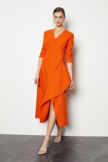 Orange Long Sleeve Waterfall Tailored Dress