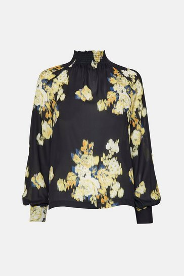 Black Large Blurred Floral Long Sleeve Blouse