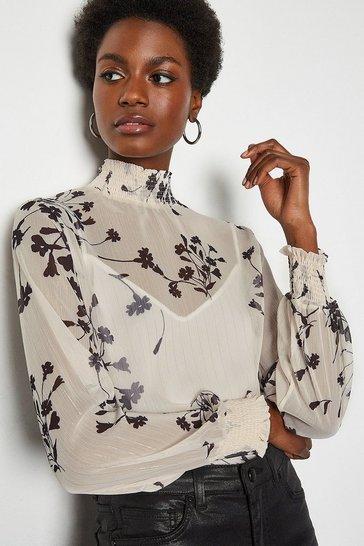 Ivory Shadow Print Long Sleeve Blouse