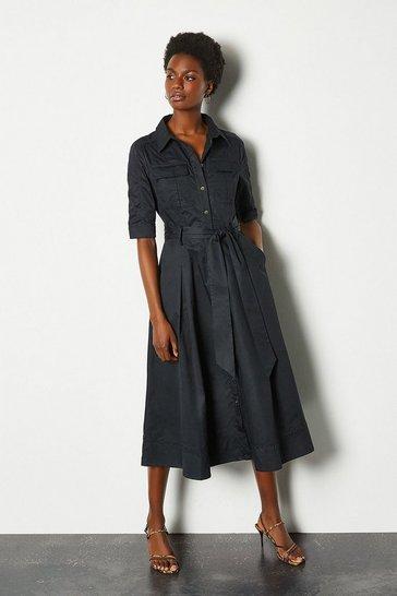 Navy Cotton Utility Shirt Dress