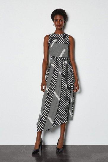 Multi Mixed Spot Asymmetric Dress