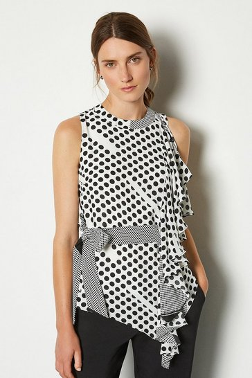 Blackwhite Print Sleeveless Tie Waist Top