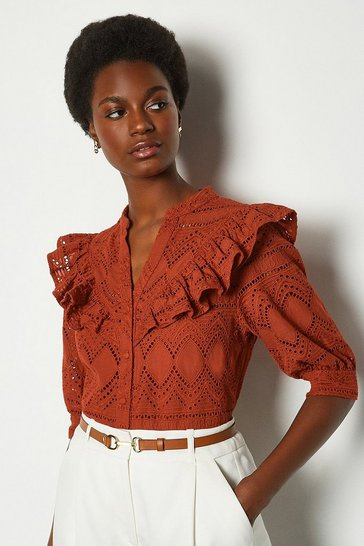Rust Broderie Short Sleeved Blouse