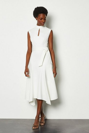 White Cap Sleeve Tie Waist Midi Dress