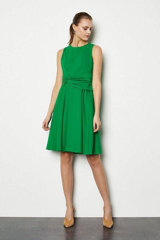 Green Woven Sleeveless Gathered Long Dress
