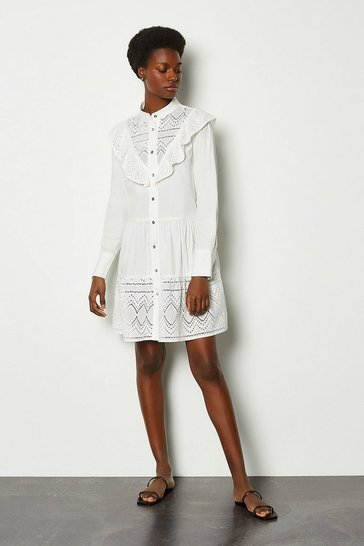 White Broderie Button Up Dress