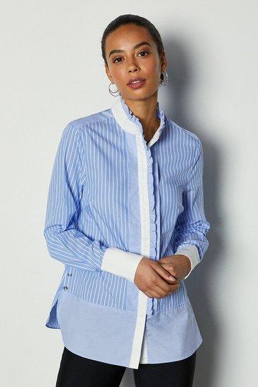 Blue Woven Ruffle Shirt