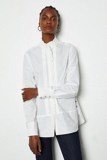 White Woven Ruffle Shirt