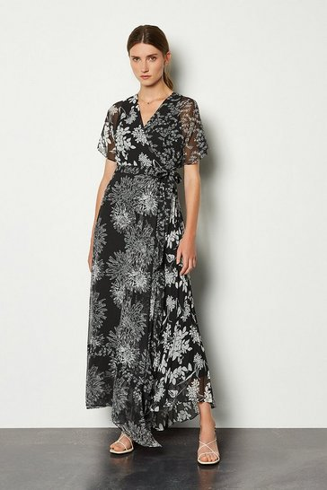 Blackwhite Printed Wrap Midaxi Dress