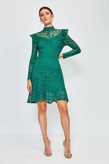 Green Chemical Lace Ruffle Dress