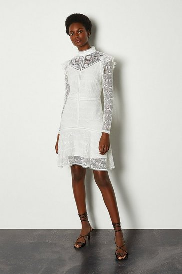 Ivory Chemical Lace Ruffle Dress
