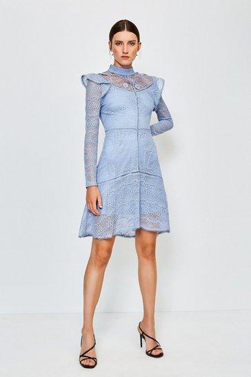 Pale blue Chemical Lace Ruffle Dress