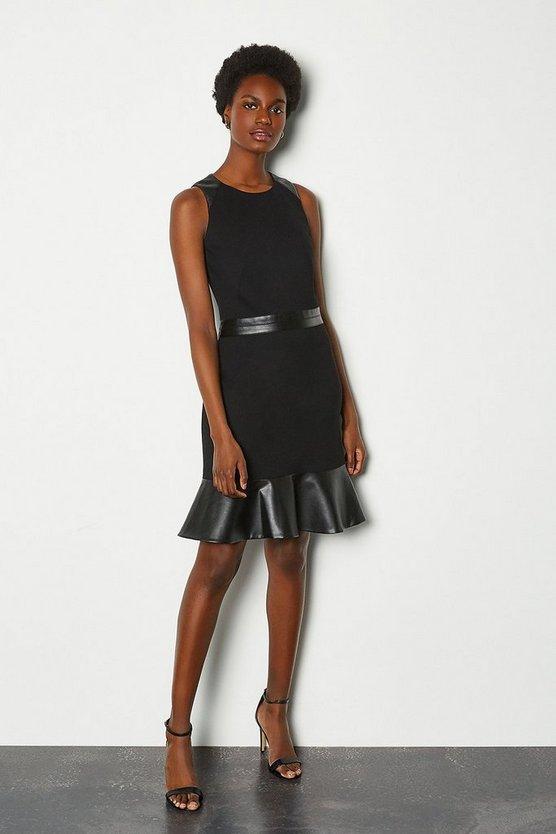 Black Faux Leather & Ponte Flippy Hem Dress