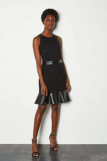Black Faux Leather & Ponte Flippy Hem Dress