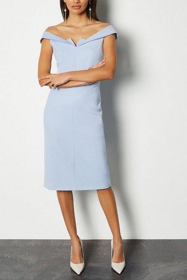 Pale blue Forever Bardot Pencil Dress
