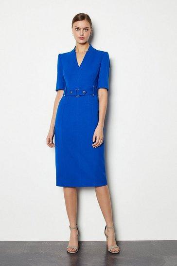 Cobalt Forever Cinch Waist Pencil Dress