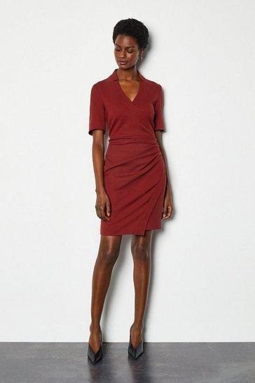 Rust Forever Short Wrap Dress