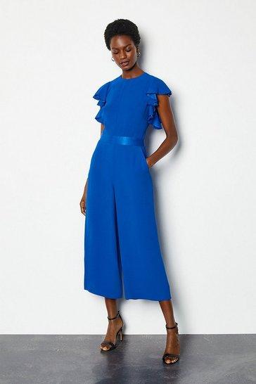 Blue Frill Sleeve Crop Jumpsuit