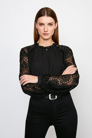 Black Silk Embroidered Chiffon Top