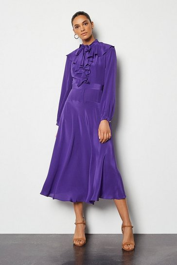 Purple Long Ruffle Silk Shirt Dress