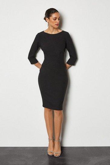 Black Seam Detail 3/4 Sleeve Tailored Dress
