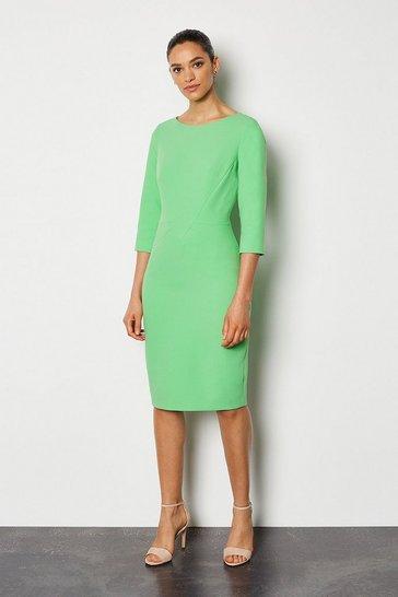 Green Seam Detail 3/4 Sleeve Tailored Dress