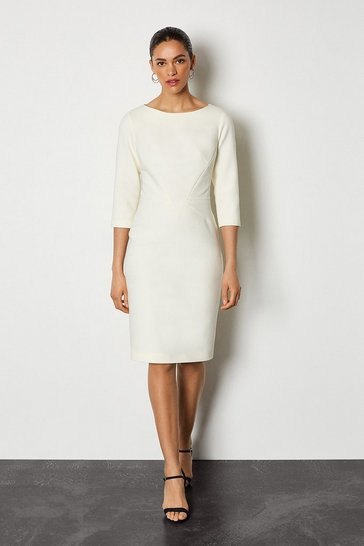 Ivory Seam Detail 3/4 Sleeve Tailored Dress