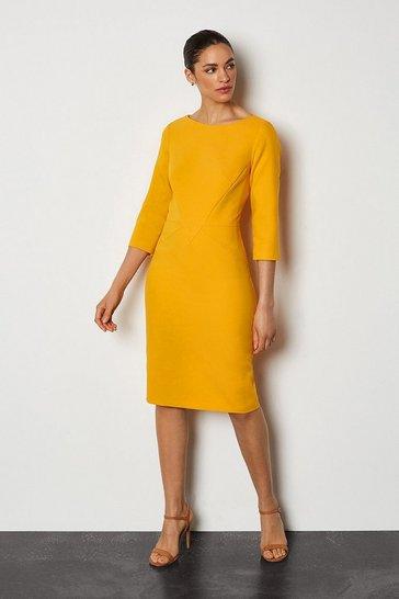 Yellow Seam Detail 3/4 Sleeve Tailored Dress