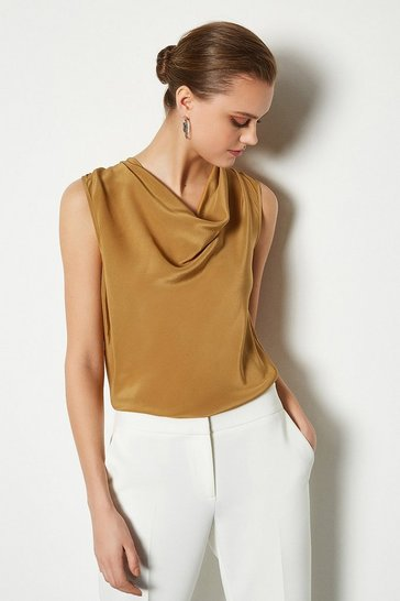 Camel Silk Cowl Neck Top