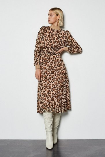 Brown Animal Print Midi Dress