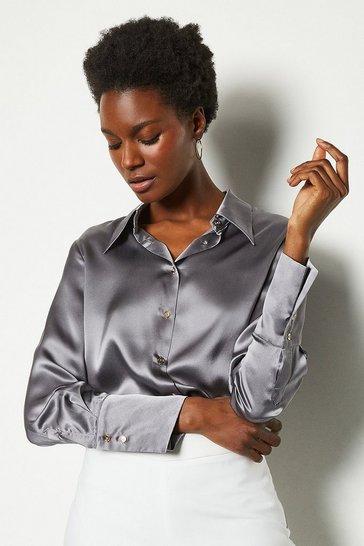 Grey Collared Silk Shirt