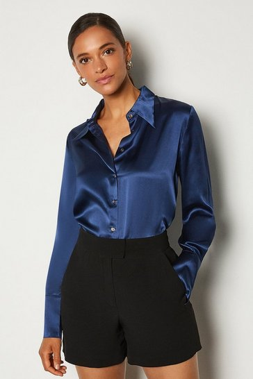Navy Collared Silk Shirt