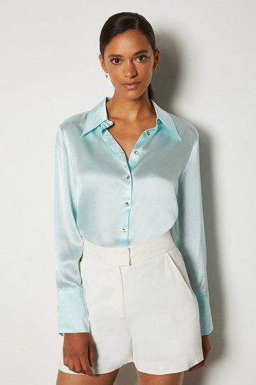 Pale blue Collared Silk Shirt