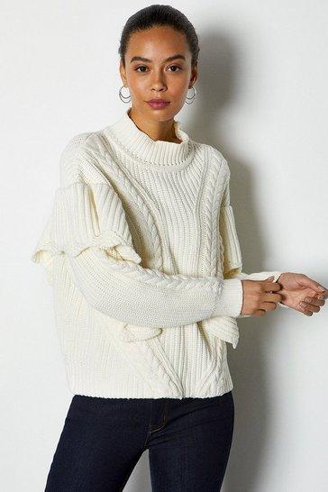 Ivory Chunky Rib Frill Knit Jumper
