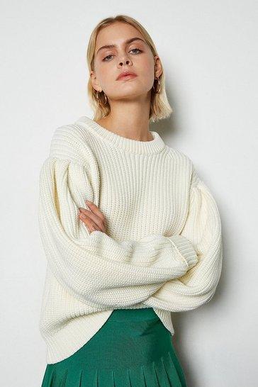 Ivory Chunky Rib Knit Jumper