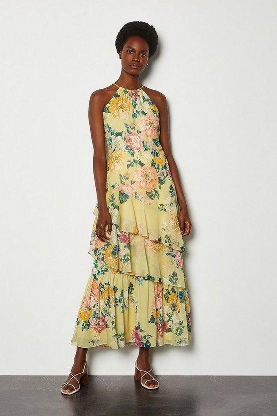 Lemon High Neck Print Dress