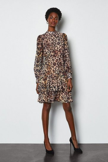 Tiered Long Sleeve Printed Animal Dress