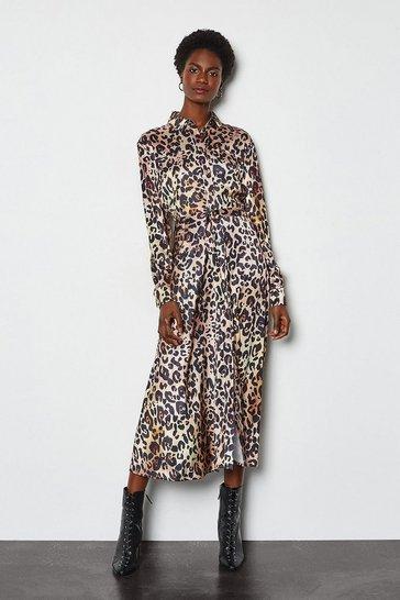 Natural Animal Print Shirt Dress