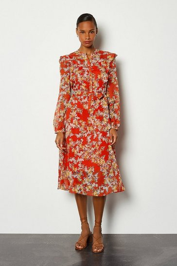 Red Floral Ruffle Long Dress
