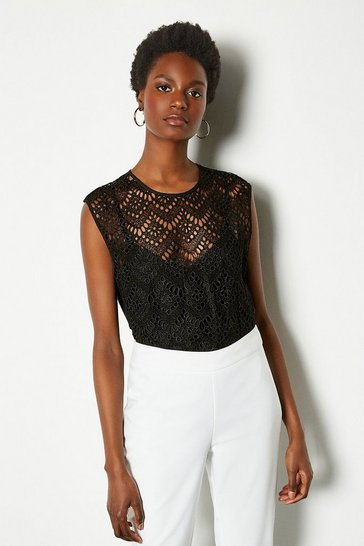 Black Lace Cutwork Shell Top