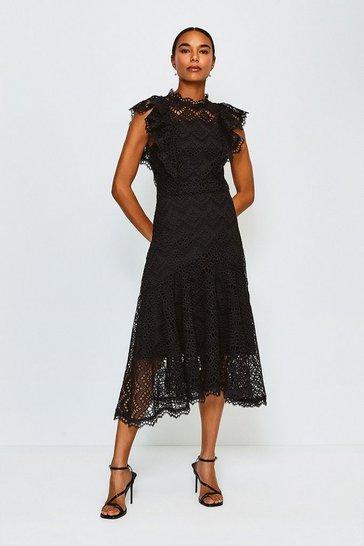 Black Chemical Lace Ruffle Dress