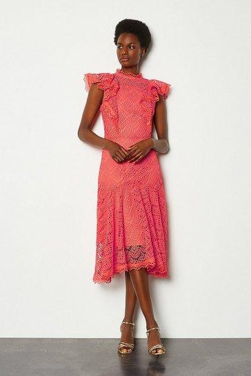 Coral Chemical Lace Ruffle Sleeveless Dress
