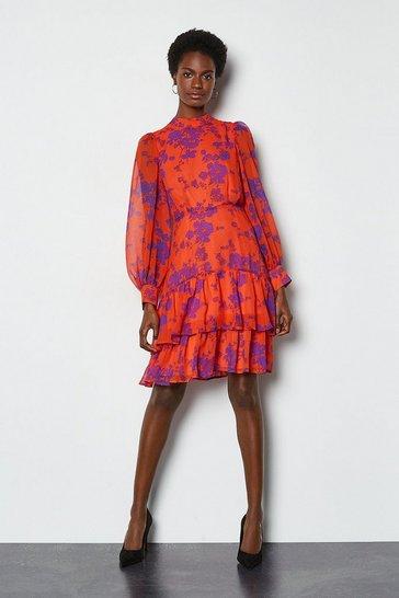 Orange Tiered Long Sleeve Printed Short Dress