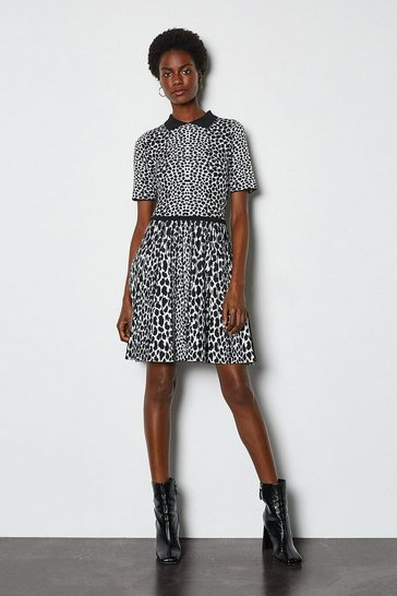Blackwhite Collared Leopard Fit and Flare Knit Dress