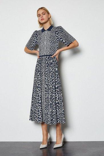 Navy Collared Leopard Midi Knit Dress