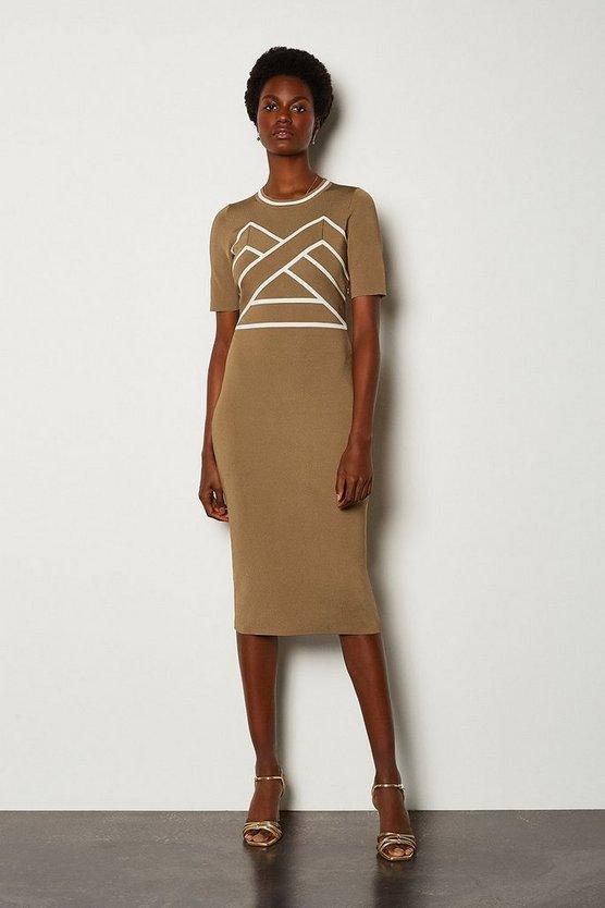 Camel Bold Contrast Stripe Bandage Dress