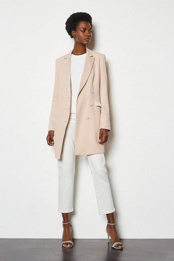 Blush Double-Breasted Tuxedo Jacket