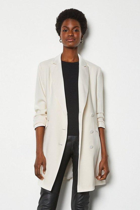 Ivory Double-Breasted Tuxedo Jacket