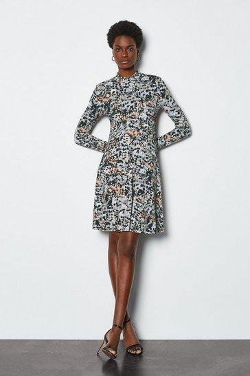 Multi Smudge Spot Print Jersey Flared Dress